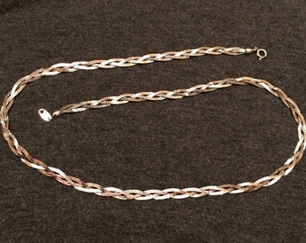 Trifari Silver Tone Braided Necklace - 24 Inches