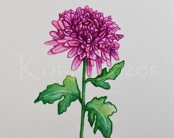 Chrysanthemum, November birthday flower, original watercolor painting, birth month flower, November birthday gift