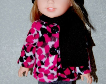 "Jacket Hat Scarf for 14"" Wellie Wishers or Melissa & Doug Doll Clothes Pink with black hat  tkct1012 READY TO SHIP"