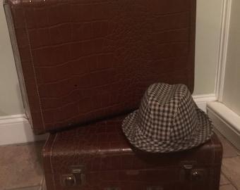 Vintage 1930's Faux Crocodile Suitcase
