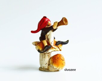 Miniature Fairy Garden Gnome Riding Turtle, Miniature House, Fairy House, Gnome House