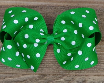 Big Hair Bows for Girls~Green Polka Dot Hair Bow~St Patrick's Day Hair Bow~Big Boutique Hair Bows~Texas Size Hair Bows~Big Hairbows~Hair Bow