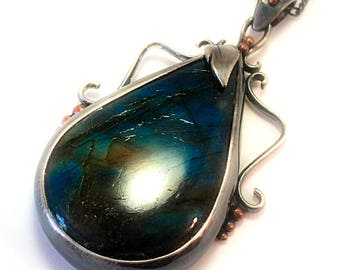 Sterling silver necklace,ready to ship,gothic necklace,unique necklace,gift for girlfriend,labradorite,oxidized silver necklaces,mothers day