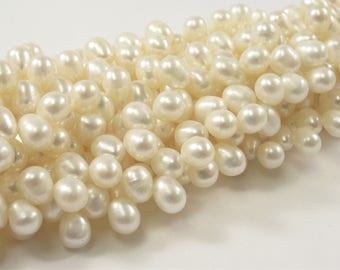 4.5 x 6 mm Top Drilled Natural White Rice Freshwater Pearl Beads, Genuine Cultured Freshwater Pearls, Natural Dancing Pearls (458-RW04506)