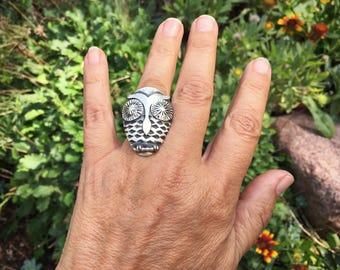 Sterling Silver Owl Ring for Women Size 7.5 Running Bear Owl Lover Gift for Her