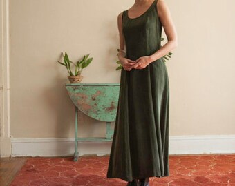 Lux Long Forest Green 90's Dress, Vintage Dark Green Dress, Silk Green Dress