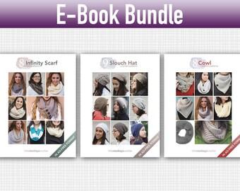 """Crochet Pattern E-Book Bundle: """"9 Slouch Hats"""" + """"8 Infinity Scarves"""" + """"8 Cowls"""" Crochet Patterns in PDF format (crochet patterns, pdfs)"""