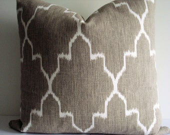 Monaco Linen Design  - Both Sides- Ikat Geometric - Decorative Designer Pillow Cover -Neutral /Taupe  /Ivory -Throw/Lumbar Pillow