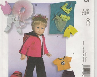 Doll Clothes Pattern for 18 Inch Doll Ballet Costume, Soccer, Swimsuit more Uncut McCalls 4896