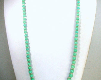 Long Soft Green Glass Necklace, Pretty Seafoam Graduated Beads,  Faceted Clear Glass Rondell Spacers, 1950s Classic Spring Color