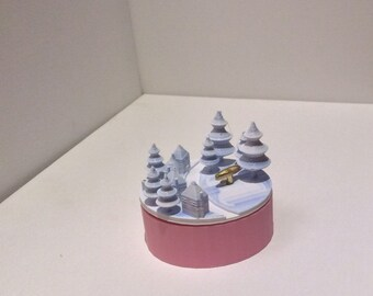 """Snow Village Music Box 3D Printed , """"You Are My Sunshine"""",  Musical Box, Music Boxes, Personalized Music Box, WIND UP, Blue , Pink White"""