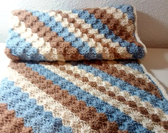 Crochet Blanket for Boy, Striped Baby Blanket, Baby Boy Bedding, Car Seat Cover, Stroller Blanket, Ready to Ship
