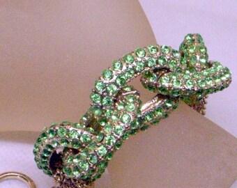 Vintage Peridot Green Rhinestone Bracelet - 6 To 8 Inch Wrist Adjustable - Stunning Designer Look - Sparkling Chunky Link Bracelet