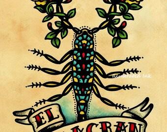 Old School Tattoo Art Scorpion EL ALACRAN Loteria Print 5 x 7, 8 x 10 or 11 x 14