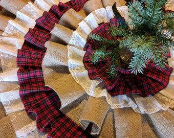 Flannel, Burlap & Lace Country Christmas Tree Skirt, Tree Skirt, Unique Tree Skirts, Repurposed Flannel, Handmade Christmas Skirt