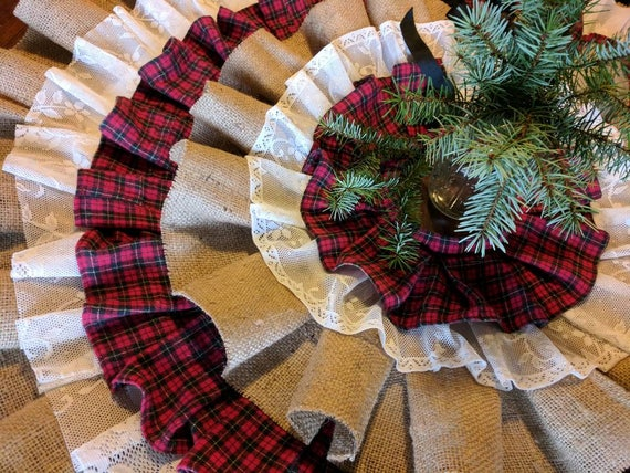 Flannel Burlap & Lace Country Christmas Tree Skirt Tree