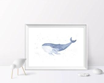Blue Whale, Watercolour Illustration, A4/A5 Print