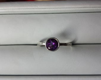 Amethyst Sterling Silver Ring, Bezel Set Amethyst Ring, Amethyst Stacking Ring, February Birthstone Ring, Pantone Color of 2018