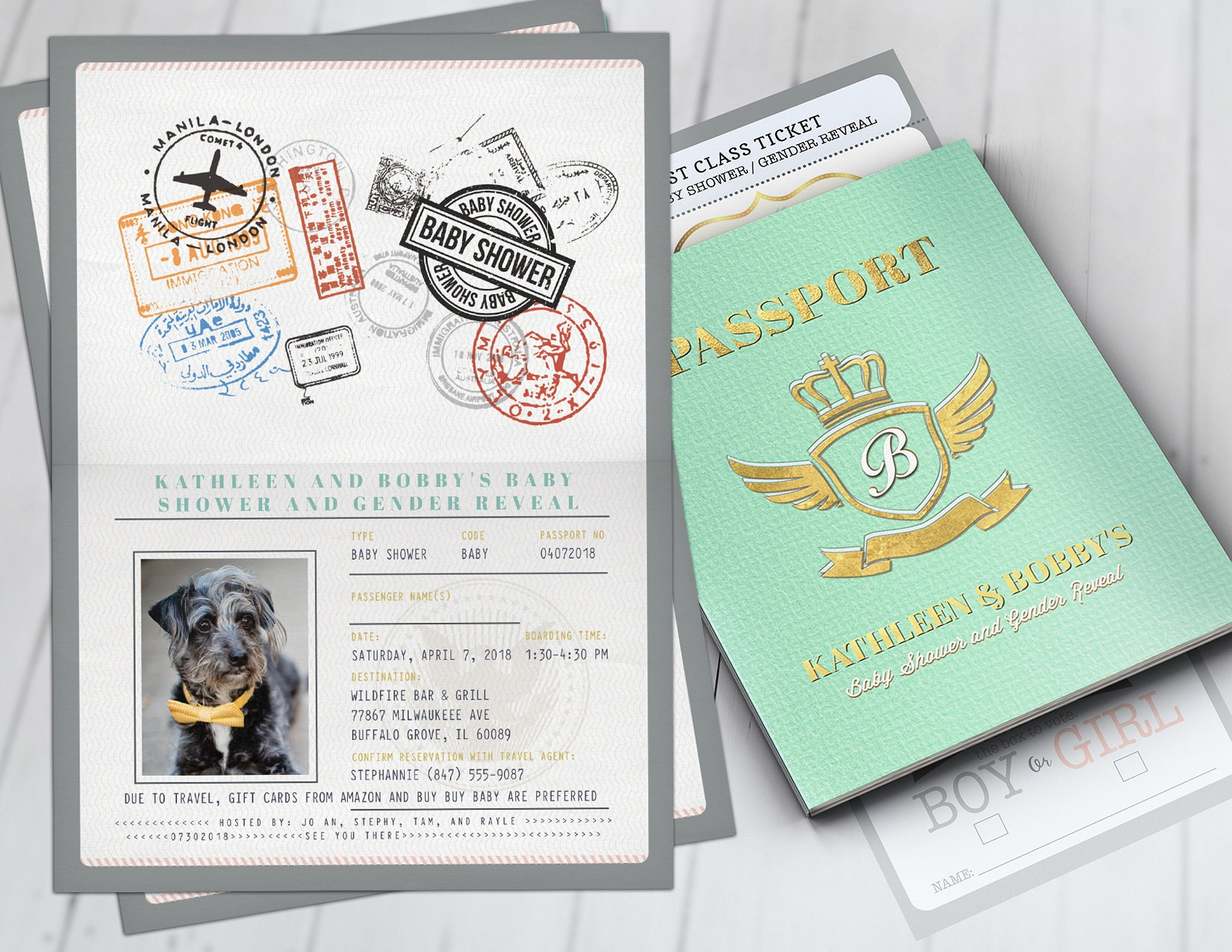 PASSPORT and TICKET baby shower invitation! Coed baby shower ...