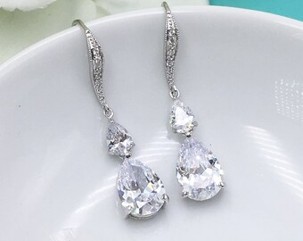 Teardrop Wedding earrings, Crystal bridal earrings, pear cubic zirconia earrings dangle earring, Stacey Earrings