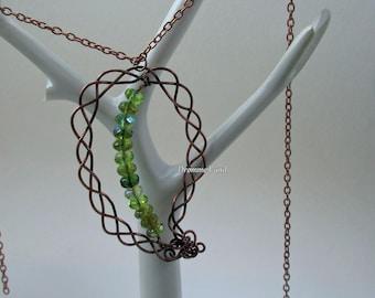 Wirework Elven Leaf Pendant - Braided Celtic Leaf Necklace