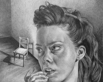 """29x42cm empty room female portrait chair emotions serene haunting ghostly art shadows """"Remembering"""" black and white original pencil drawing"""