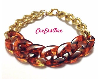 Acrylic & Gold Link Bracelet
