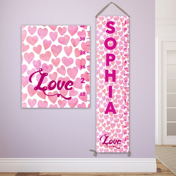 Pink Growth Chart Girl Growth Chart Personalized Growth