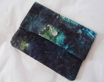 Hand dyed upcycled vintage fabric envelope wallet *original art* OOAK twilightdance