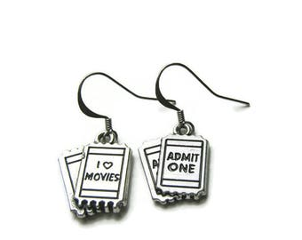 I Love Movies Earrings, Movie Earrings, Movie Ticket Earrings,Admit One Earrings, Movie Lover Earrings,Earrings For Movie Lover,Assymetrical