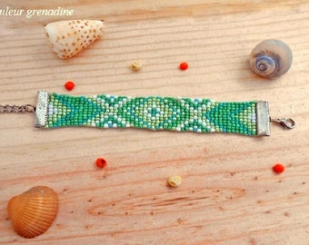 Ethnic bracelet woven with seed beads, birthday gift idea
