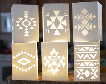 Tribal Ethnic Boho  Wedding Decorative Luminaries Multi-design - Pkg of 6