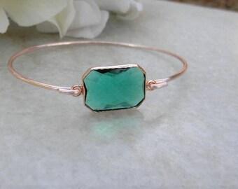 Rose Gold Bangle Bracelet / Emerald Rose Gold Bracelet / Bridesmaid Gift / Bridesmaid Jewelry / Rose Gold Bridesmaid Brangle / Gift Idea