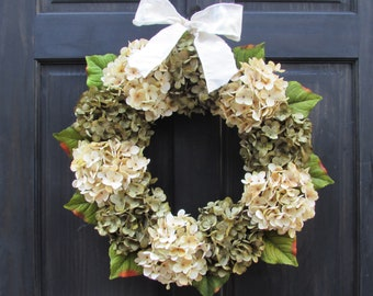 Green and Cream Artificial Hydrangea Wreath with Bow for Summer Fall Year Round Front Door Porch Decor; Small - Extra Large Sizes