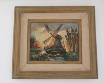 Original Late 1930's Framed Oil On Canvas Ruta Windmill Painting