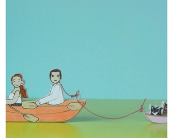 Custom Wedding Cake Topper Couple in  Canoe or Kayak with Separate Boat for Two Pets
