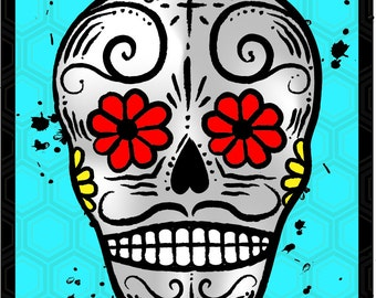 Day of the Dead refrigerator Magnet BLUE