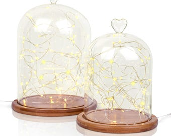 Glass Cloche | Glass Heart Topped | Bell Jar Display Dome | Bamboo Base