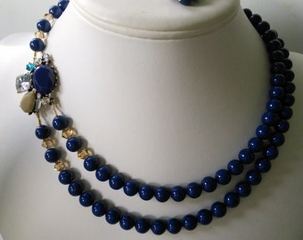 SALE READY TO SHIPTwo Strand Swarovski Lapis Blue Pearl with Rhinestone Brooch Beaded Necklace and Earring Set
