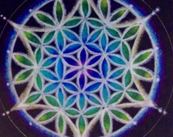 Mandala Sticker - Flower of Life Sacred Geometry mandala  from original prismacolor pencil mandala
