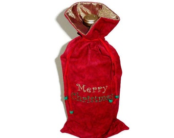 Christmas Gift, Embroidered Wine Bottle Gift Bag, Red Fabric, Christmas Wine Bag, Wine Bottle Holder, Wine Gifts, Wine Bottle Carrier