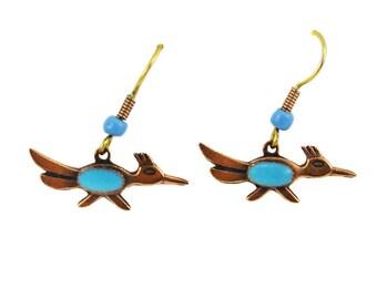 Bell Copper Roadrunner Earrings, Copper and Turquoise Roadrunner Earrings, Copper Bird Earrings