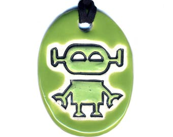 Robot Ceramic Necklace in Green