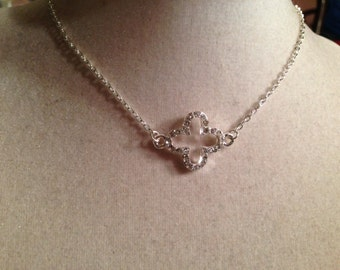 Quatrefoil Necklace - Silver Jewelry - Crystal Jewellery - Fashion - Glam - Style - Pendant