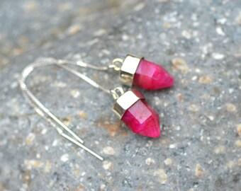 Ruby Earrings.  Pendulum Sterling Silver Threaders. Mismatched Earrings. Ruby Prism Ear Threaders.  Asymmetrical  Earrings. Fine Jewelry.