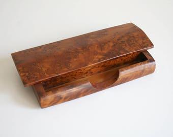 Burl Wood Desk Organizer