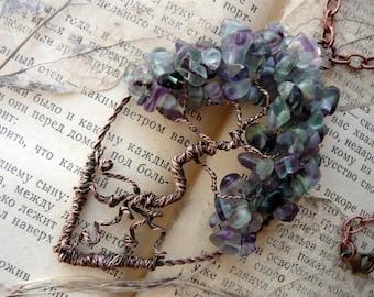 Tree of life pendant Wrapped pendant Tree life necklace Tree of life jewelry Fluorite pendant Stone copper pendant Purple green pendant Tree