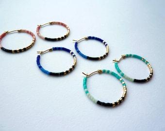 Colorful and Bright Minimalist Hoop Earrings, Boho Beaded Hoop Earrings, Multicolored Hoops, Tiny Beaded Hoops, Extra Thin Hoop Earrings