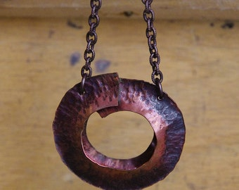 Hammered Copper Necklace - Fold Formed