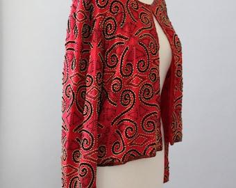 Vintage Sequin Jacket 80s Glam Red Sequin Beaded Trophy Jacket S M L